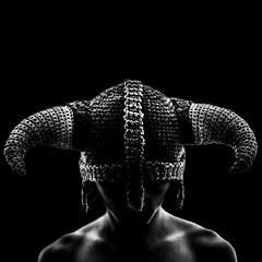 (Skyrim) Wool Helmet (SteveHopkinsOld) Tags: portrait bw white black wool hat contrast self 35mm dark square nikon crochet helmet horns 1x1 d90 skyrim