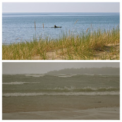 Same lake, different days (NancyArmstrongThomson ~ TY! Catching up slowly.) Tags: snow ontario canada beach contrast photo kayak waves horizon calm greatlakes differences changes lakehuron kayaker northcountry wackyweather girlfromthenorthcountry snowinmay dylanandcash fromthursdaytosunday 2voices1song 1song2voices cashanddylan samelakedifferentdays