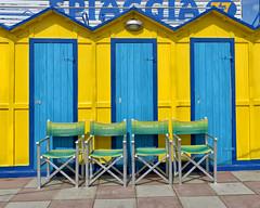 Riccione - cabine da regista (Diana Cimino Cocco) Tags: mare giallo sedie spiaggia vacanza riccione emiliaromagna celeste cabine regista tuttialmare