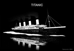 RMS Titanic (black and white illustration) 2013 (Yannewvision) Tags: france photoshop french boat frankreich ship fanart photomontage olympic titanic bateau schiff    navire modifi britannic paquebot transatlantique  yannewvision linerboat