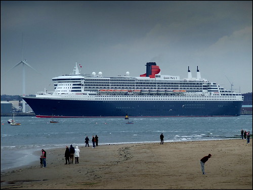 Queen Mary 2 departing Liverpool 17th May 2013