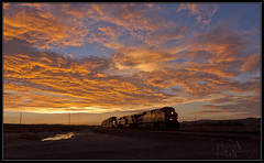 Out of the Sunset (K-Szok-Photography) Tags: california sunset clouds canon route66 desert trains socal transportation 5d canon5d backlit canondslr bnsf railroads cloudscapes desertbeauty deserttrains sbcusa kenszok kszokphotography