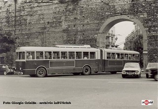 Fiat 2405 Stanga articulated trolleybus AMT Verona Italy 1975 and a Renault 12