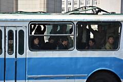 Pyongyang City Bus (dabananabunch) Tags: city people bus window public car nikon leute traffic fenster north gimp tram korea menschen korean transportation through durch verkehr glas vr afs dx pyongyang koreanisch dprk f3556g nordkorea  ffentlicher  18105mm   pjngjang d5200