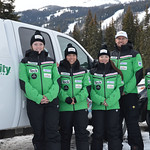 13/14 BC Ski Team Women (left to right) Alix Wells, Charley Field, Emma King, Johnny Crichton, JP Daigneault PHOTO CREDIT: Gordie Bowles
