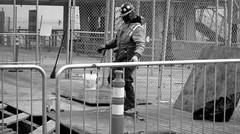 test the wood (Robert S. Photography) Tags: wood bw man brooklyn coneyisland concrete working repair boardwalk brightonbeach canonpowershot a3400