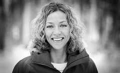 charlotte (Kaire K) Tags: winter portrait bw face norway forest blond curlyhair bwportrait