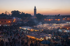 Above the Square (Brian Hammonds) Tags: camera city trip travel vacation portrait people urban holiday color history tourism beautiful beauty contrast square outdoors photography photo ancient nikon photographer tour bright image market exploring sightseeing picture culture vivid places mosque tourist full adventure explore morocco photographs photograph journey frame marrakech medina traveling foreign dslr capture fx touring moroccan d800 traveler lightroom