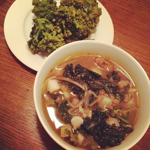 Vegan caldo verde and broccoli romanesco from my garden.