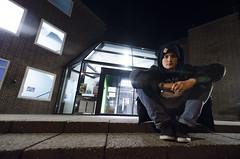 (SBJRN) Tags: lighting street blue friends light boy portrait black building guy glass hat wall angel night contrast dark denmark concrete person hoodie