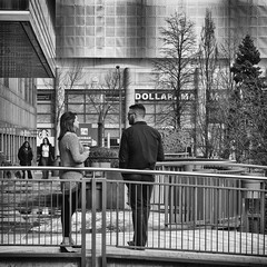 Coffee break (GBaker63) Tags: people bw dog toronto building tree coffee break olympusomdem5 mzuikomscedm1250mmf3563