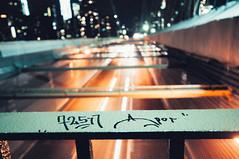72511 X DROG Bklyn Brdg ( Nino) Tags: new york city nyc bridge sky film apple skyline brooklyn night clouds 35mm skyscape lights graffiti big long exposure cityscape state bronx manhattan tag grain wide tags queens mind empire mm 35 drog 72511