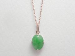 翡翠をピンクゴールドのペンダントに (jewelrycraft.kokura) Tags: 翡翠 ペンダント ピンクゴールド ピンクゴールド