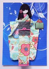 ATC1264 - Yori (tengds) Tags: pink flowers blue black leaves bag kimono obi papercraft japanesepaper washi ningyo furisode chiyogami saapaper yuzenwashi japanesepaperdoll washidoll origamidoll kimonodoll tengds