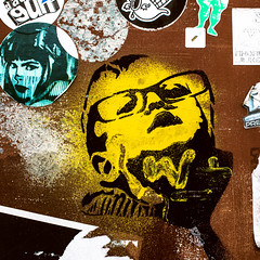 Kind met bril (v_rijswijk) Tags: street city urban streetart colour art colors yellow wall graffiti glasses sticker colorful colours child colorfull streetphotography eindhoven spray urbanart urbano colourful urbanphotography urbanwalls wallporn streetartistry