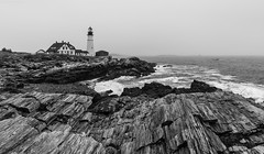 Portland Head Light (sergey.korytnikov) Tags: ocean bw lighthouse white black me waves maine overcast portlandheadlight