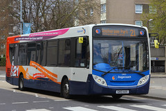 GX13 AOS, Queen Street, Portsmouth, April 18th 2016 (Suburban_Jogger) Tags: travel bus public canon spring transport hampshire portsmouth april vehicle passenger queenstreet omnibus 2016 southdown 24105mm 27872 alexanderdennis route21 enviro200 stagecoachhampshire gx13aos