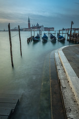 Early morning looking out over the Grand Canal (Bommer60) Tags: longexposure venice sea italy water waterfront it venezia venedig gondolas piazzasanmarco sangiorgiomaggiore veneto saintmarkssquare neutraldensityfilter feb2016 venicemetropolitancityofvenice
