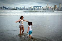 one year ago... (kauanamine) Tags: light beach beautiful kids sisters nikon hug sweet brazilian lovely
