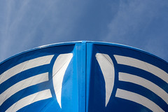 Blue bow (Jan van der Wolf) Tags: blue white monochrome lines boot boat blauw ship lanzarote symmetry line bow symmetric wit schip symmetrie lijnenspel monochroom boeg playoflines map1503v