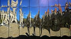 Castlegate reflections 16 (Golux.) Tags: blue sky distortion reflection sunshine square mirror scotland artwork photographer distorted citadel sunny reflected aberdeen installation granite flagstone castlegate