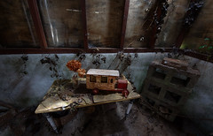 forgotten play (kiss-my-pixels) Tags: old uk flowers light england house abandoned home window car dark table toy bricks cottage rusted disused derelict decayed canon650d kissmypixels