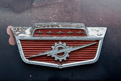 Weathered Mercury badge (AlecTheRed) Tags: cars vintage ontario canada automotivephotography americancar carphotography cardetails detailshots macro carshow carshowphotography classiccar vehicle worldcars musclecars nikkor