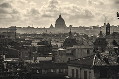 The Power of the dark side (Alessio Trerotoli) Tags: street city sky urban blackandwhite italy panorama vatican rome roma skyline clouds vintage landscape photography photo cityscape view roofs sanpietro bnw saintpeter