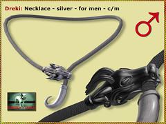 Bliensen - Dreki - necklace silver - M (Plurabelle Laszlo of Bliensen + MaiTai) Tags: sl secondlife bliensen dragon dragonhead viking jewelry norse fantasyjewelry roleplay gorean gor medieval antique necklace earrings