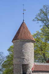 Medieval Tower (AudioClassic) Tags: new old city tower wall skyline town spring europe tallinn estonia day cityscape fort steeple financialdistrict weapon destination easterneurope northerneurope urbanscene capitalcities buildingexterior balticcountries surroundingwall europeanculture