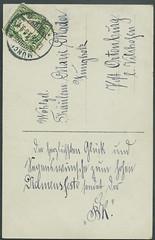 Archiv E895 Namenstagskarte, Mnchen, 12. September 1908 (Hans-Michael Tappen) Tags: bayern 1908 1900s glckwnsche knigreich briefmarke poststempel segenswnsche namenstag namenstagskarte 1900er archivhansmichaeltappen