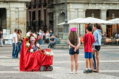 Street Performer in a baby stroller (mindweld) Tags: streetperformer plazamayor babystroller madridspain