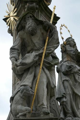 Figura św. Joachima (1739-42, Klahr Starszy) na pomniku Trójcy Świętej w Lądku Zdroju