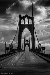The dark side (MacaPDX (out for a couple of weeks)) Tags: road bridge blackandwhite bw usa blancoynegro clouds 1931 portland cloudy gothic stjohns historic pacificnorthwest pdx pnw willametteriver histrico stjohnsbridge