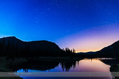 Autumn Stars Rising at Forget-Me-Not Pond (Amazing Sky Photography) Tags: reflection water stars kananaskis twilight solstice andromeda perseus lightpollution cassiopeia forgetmenotpond