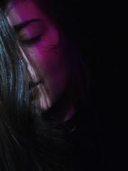 Purple light (JackyDiamond) Tags: black background purple light girl self portrait pierced