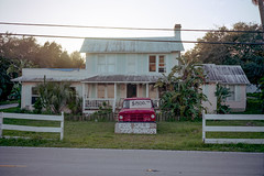 (patrickjoust) Tags: fortpierce florida red truck house forsale fujicagw690 kodakportra160 6x9 medium format 120 rangefinder 90mm f35 fujinon lens manual focus analog mechanical c41 color negative film patrick joust patrickjoust south fl usa us united states north america estados unidos autaut home for sale