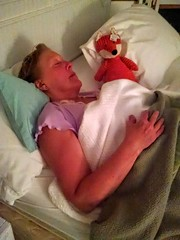 Mom and her fox doll (EllenJo) Tags: sleeping stuffedtoy mi mom hotel mainstreet pentax lodging historic mackinacisland windermere tripwithmom 2016 historichotel yellowhotel windermerehotel ellenjo foxdoll ellenjoroberts summer2016 june2016 midwesternadventure