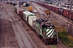 Burlington Northern 1897 at 21st Street Viaduct in Superior, Wisconsin (Twin Ports Rail History) Tags: twin ports rail history by jeff lemke time machine bn burlington northern emd gp9 superior wisconsin