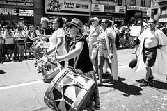 Toronto Pride 2016 (MorboKat) Tags: people toronto ontario canada monochrome march drum outdoor crowd pride parade prideparade lgbt yongestreet drumming yonge spectator torontopride pridemarch prideto pride2016 torontopride2016