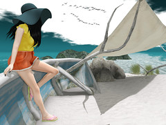 Cast away (Toya Shelman) Tags: beach hair mesh top secondlife flipflops shorts gos maitreya secondlifefashion teefy