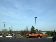 Obnoxious Parking (bmw328driver) Tags: blue sky usa minnesota truck parkinglot paint streetlights parking pickup loud mn cheesy obnoxious eagan badparking