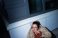 (Matt Obrey) Tags: street windows woman colour face architecture drunk fur birmingham fuji hand cigarette smoke flash streetphotography x100 birminghamstreet fujix100