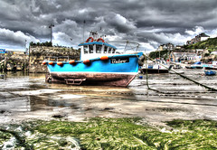 Newquay Harbour HDR (raphooey) Tags: uk sea england cloud fish seaweed southwest west clouds canon boats eos coast boat fishing sand cornwall harbour south north shoreline newquay shore gb hdr trawler baloo drifter photomatix 60d