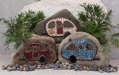 """At the Campground"" Mosaic Caravans (Chris Emmert) Tags: camping red black rock stone mirror mosaic mixedmedia teal stainedglass copper trailer caravan homedecor ballchain gardenstones flickrmosaicartists chrisemmertmosaic chrisemmertcom"