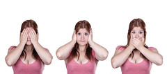 See No Evil, Hear No Evil, Speak No Evil poses. (Francis Jimnez Meca) Tags: people white cute eye girl beautiful beauty face female work mouth hair studio person see eyes women long pretty hand looking shot adult blind no background young evil lifestyle talk ears front communication listening ear wisdom conceptual ideas dressed mid isolated speak hear proverb 20s caucasian covering businesswoman dgf22