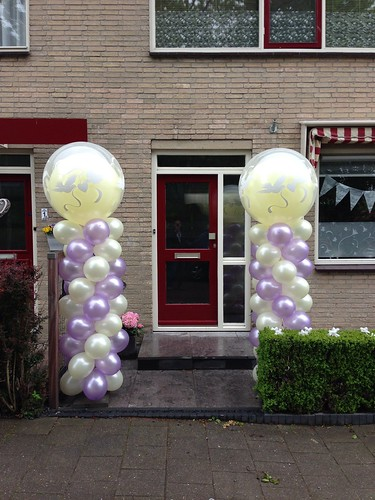 Ballonpilaar Breed Rond Ivoor Lila Love Doves