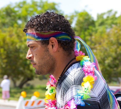 Man with rainbow headband