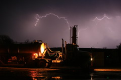 Lightning In the Oklahoma Oil field (WLI_Services) Tags: oklahoma weather salt firestone lightning transfer trucking oilfield saltwater