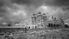 The Maharaja's Palace (Joe Rebello) Tags: blackandwhite india clouds landscape karnataka mysore minarets maharajapalace